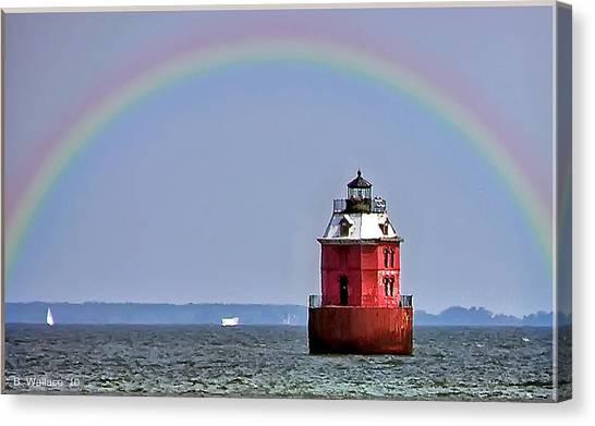 Lighthouse On The Bay Canvas Print