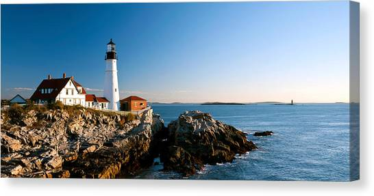 Portland Lighthouse Canvas Print - Lighthouse On The Coast, Portland Head by Panoramic Images
