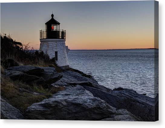 Lighthouse On The Rocks At Castle Hill Canvas Print