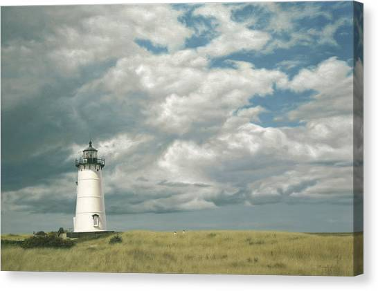 Marthas Vineyard Canvas Print - Lighthouse Picnic by Julia O'Malley-Keyes