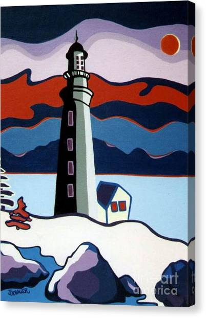 Lighthouse Red Sky Canvas Print