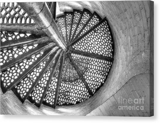 Lighthouse Stairs In Black And White Canvas Print by Twenty Two North Photography