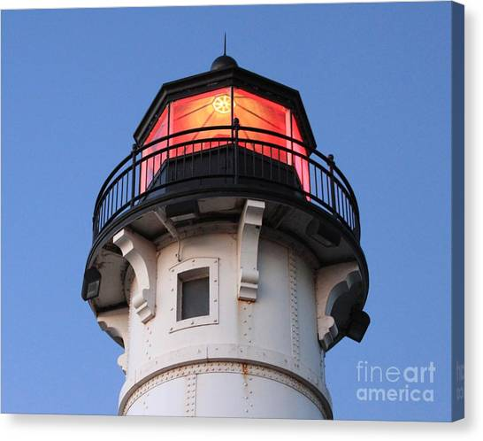 Canvas Print - Lighthouse With The Lights On by Lori Tordsen