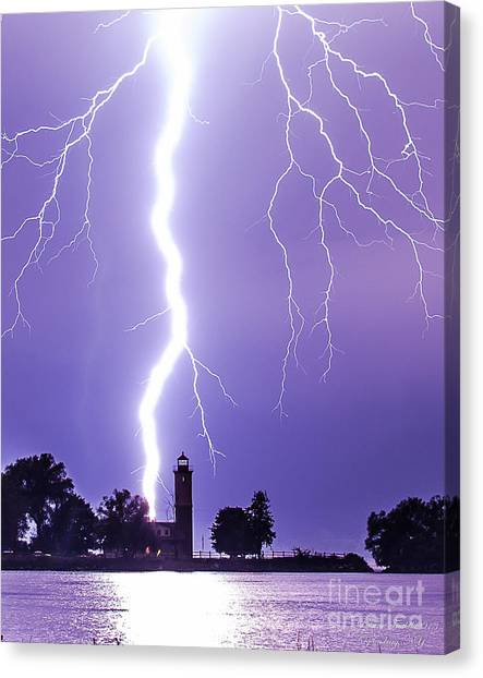 Lighting The Lighthouse Up Canvas Print