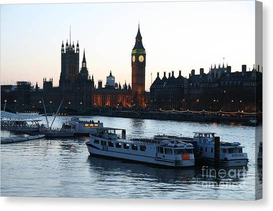 Lighting Up Time On The Thames Canvas Print