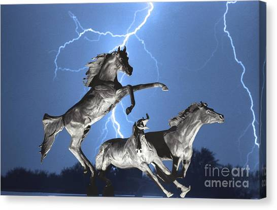 Lightning At Horse World Bw Color Print Canvas Print