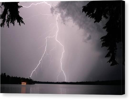 Lightning At The Lake Canvas Print