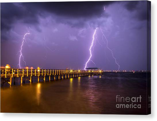 Tampa Bay Lightning Canvas Print - Lightning At The Pier by Marvin Spates