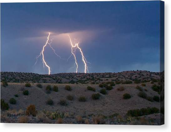 Lightning Dance Over The New Mexico Desert Canvas Print
