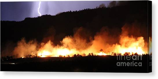Lightning During Wildfire Canvas Print