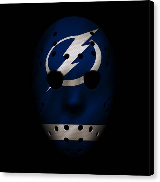 Tampa Bay Lightning Canvas Print - Lightning Jersey Mask by Joe Hamilton