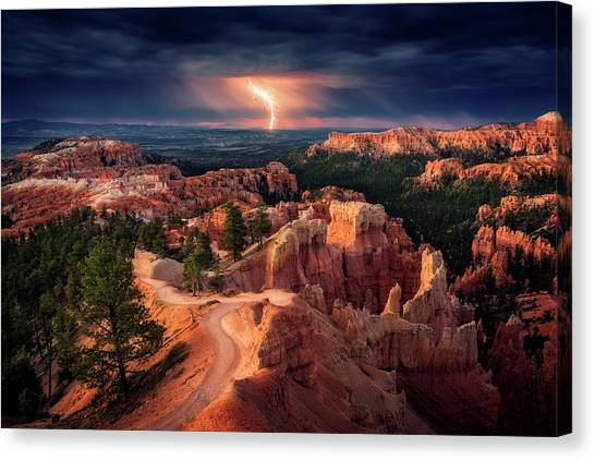 Thunderstorms Canvas Print - Lightning Over Bryce Canyon by Stefan Mitterwallner