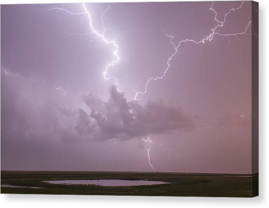 Lightning Over Cheyenne Bottoms Canvas Print