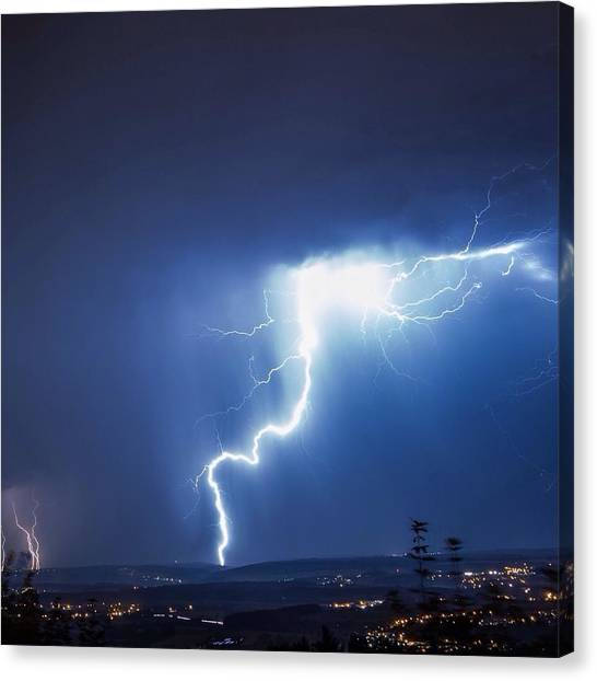 Lightning Over City Canvas Print by Hans-peter Semmler / Eyeem