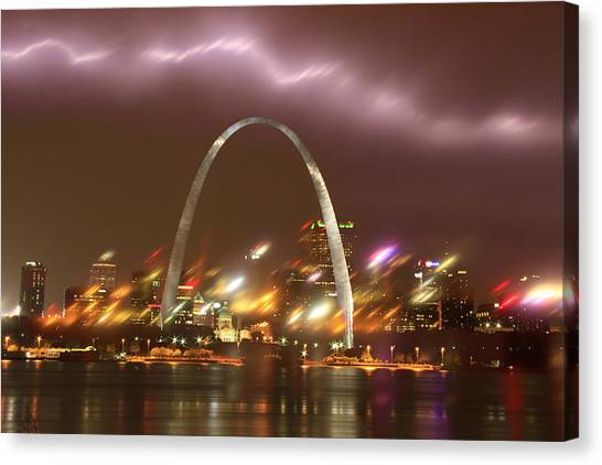 Lightning Over The Arch Canvas Print