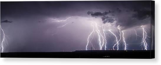 Lightning Over The Wind Farm Canvas Print