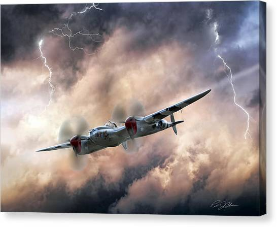 United States Army Air Corps Canvas Print - Lightning Race by Peter Chilelli