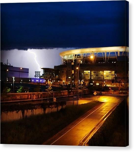 Storms Canvas Print - Lightning Strike Beyond Target Field by Heidi Hermes
