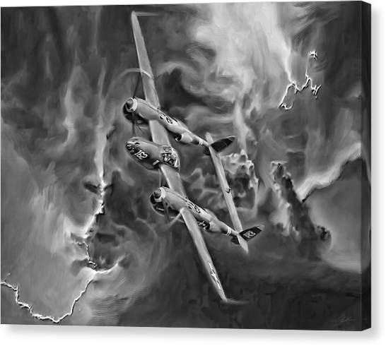 United States Army Air Corps Canvas Print - Lightning Strike-bw by Peter Chilelli