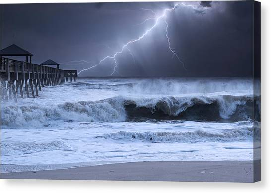 Grey Clouds Canvas Print - Lightning Strike by Laura Fasulo
