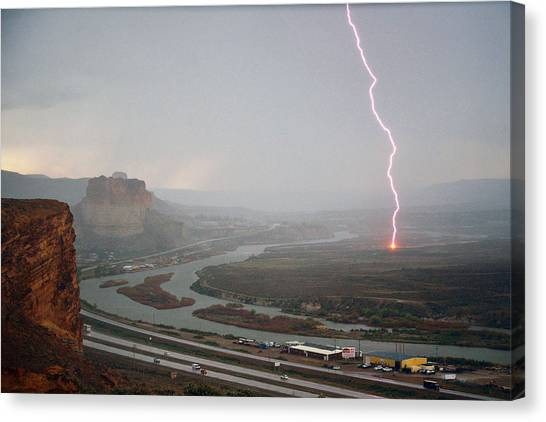 Lightning Strike Near Green River Canvas Print