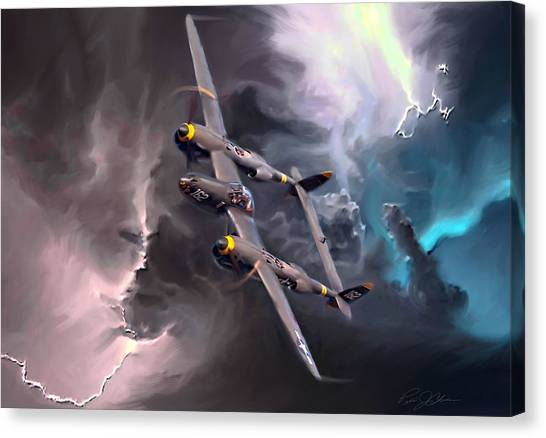 United States Army Air Corps Canvas Print - Lightning Strike by Peter Chilelli