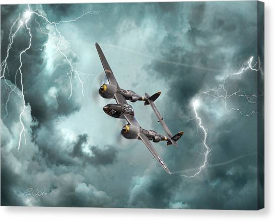 United States Army Air Corps Canvas Print - Lightning Strikes by Peter Chilelli