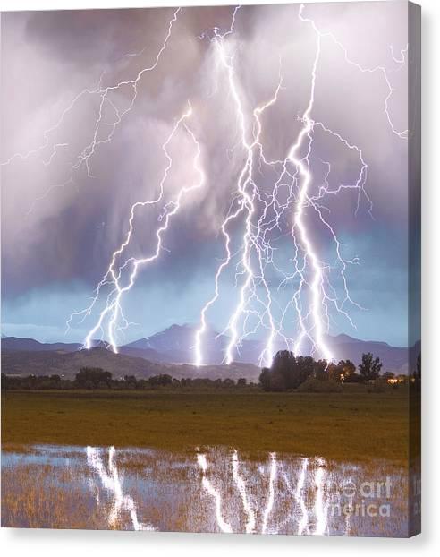Lightning Striking Longs Peak Foothills 4c Canvas Print