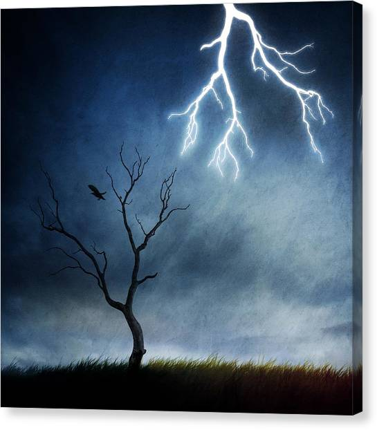 Energy Canvas Print - Lightning Tree by Sebastien Del Grosso