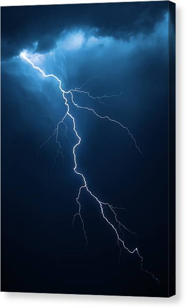 Flash Canvas Print - Lightning With Cloudscape by Johan Swanepoel