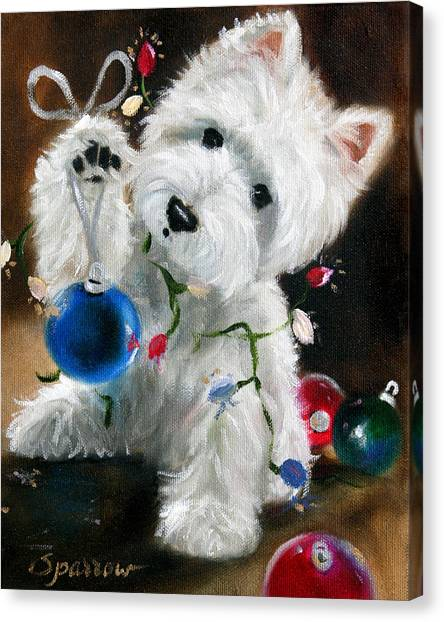 Christmas Lights Canvas Print - Lights And Balls by Mary Sparrow