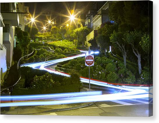 Lights On Lombard Canvas Print