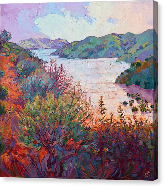 California Landscape Art Canvas Print - Lights On Whale Rock by Erin Hanson