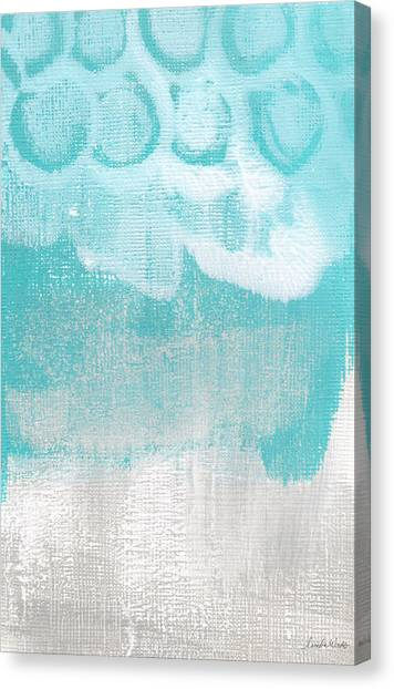 Grey Clouds Canvas Print - Like A Prayer- Abstract Painting by Linda Woods