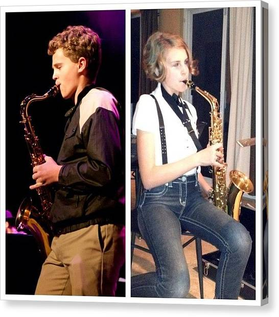 Saxophones Canvas Print - Like Brother Like Sister? :/ #throwback by Summer Cloud