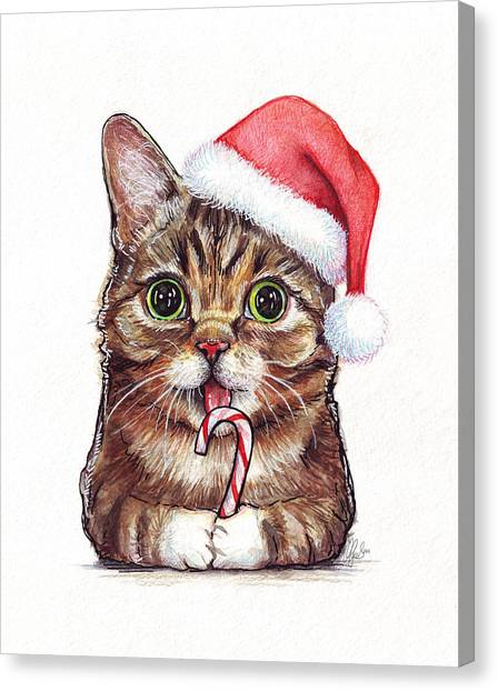 Candy Canvas Print - Cat Santa Christmas Animal by Olga Shvartsur