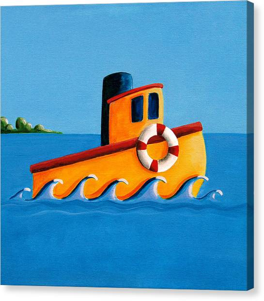 Tugboat Canvas Print - Lil Tugboat by Cindy Thornton