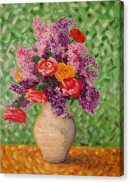 Lilac And Roses Canvas Print