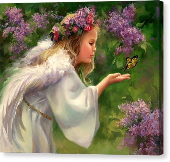 Wreath Canvas Print - Lilac Angel by Laurie Hein