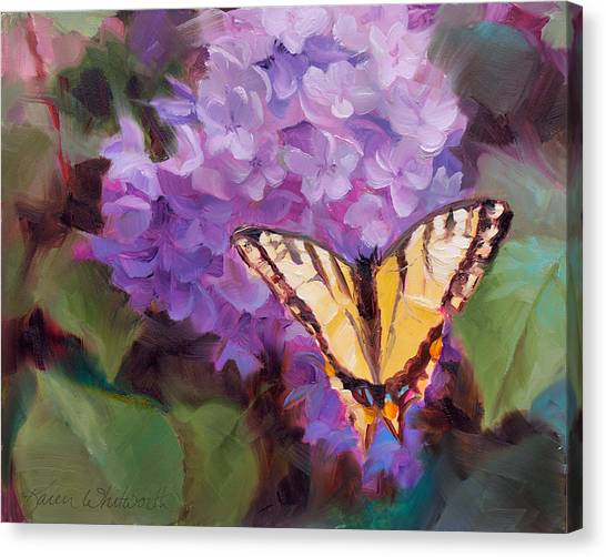 Lilacs And Swallowtail Butterfly Canvas Print