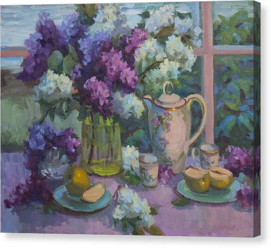 Tea Set Canvas Print - Lilacs And Tea by Diane McClary