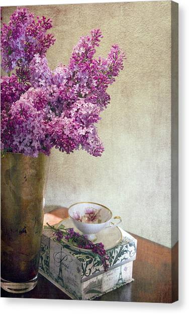 Lilacs In Vase 3 Canvas Print