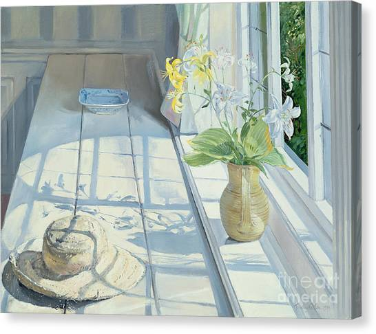 Window Canvas Print - Lilies And A Straw Hat by Timothy Easton