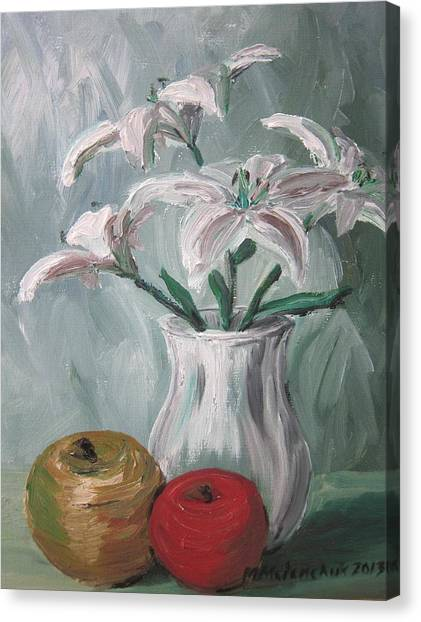 Lilies And Apples Canvas Print by Maria Melenchuk