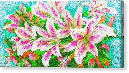 Canvas Print featuring the painting Lilies  by Hidden  Mountain