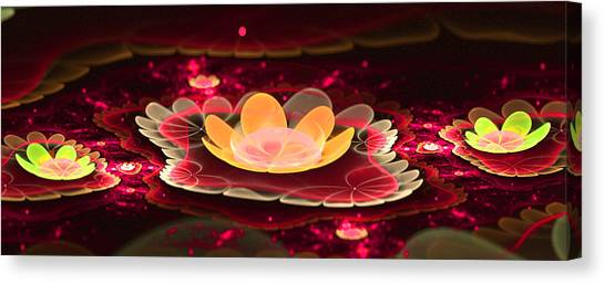 Lilies On Lava Bed Canvas Print by Ester  Rogers