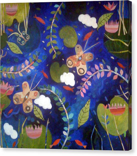 Happy Birthday Canvas Print - Lily With Clouds by Caroline Blum