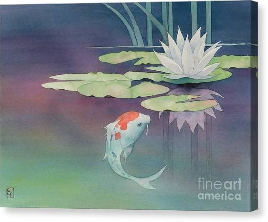 Fish Canvas Print - Lily And Koi by Robert Hooper