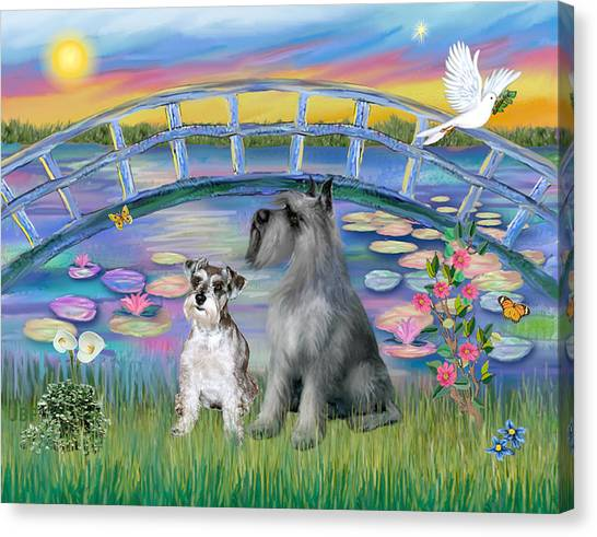 Lily Bridge With Two Schnauzers Canvas Print