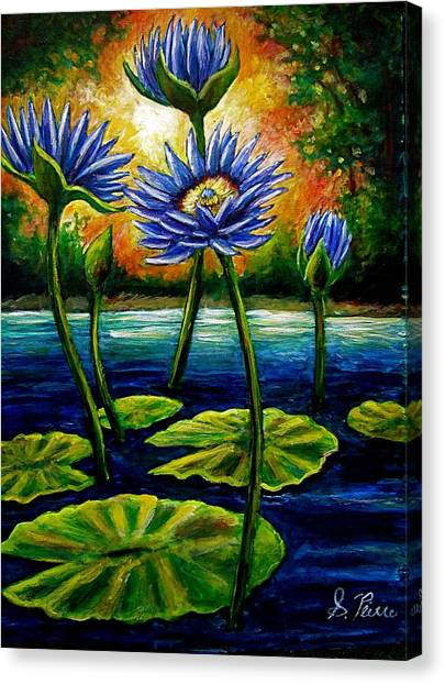 Lilys And Lotus Canvas Print by Sebastian Pierre